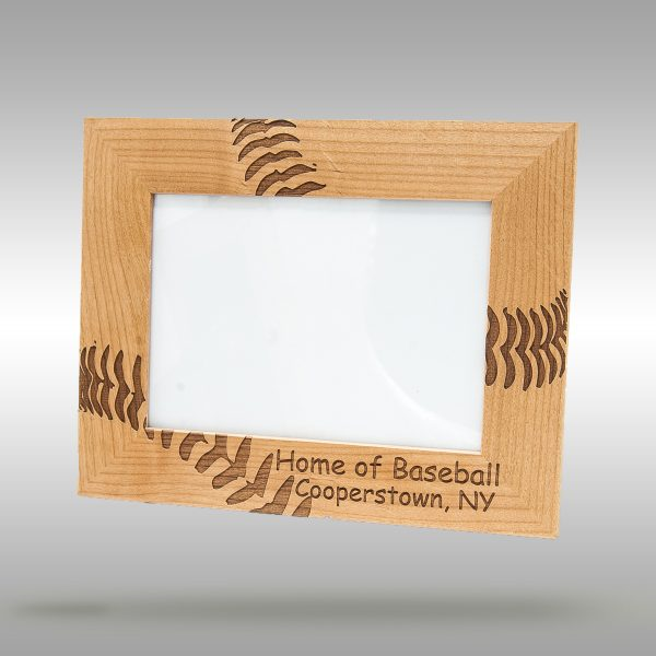 5x7 picture frame with engraved baseball stitches - Home of Baseball - Cooperstown, NY