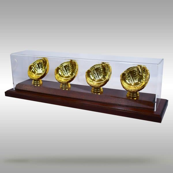 Gold Glove Baseball Display - 4 baseballs - Dark Stain finish