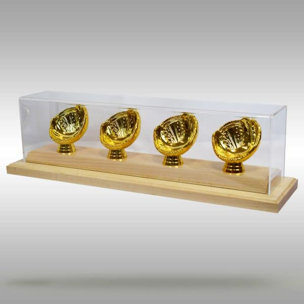 Gold Glove Baseball Display - 4 baseballs - Natural finish